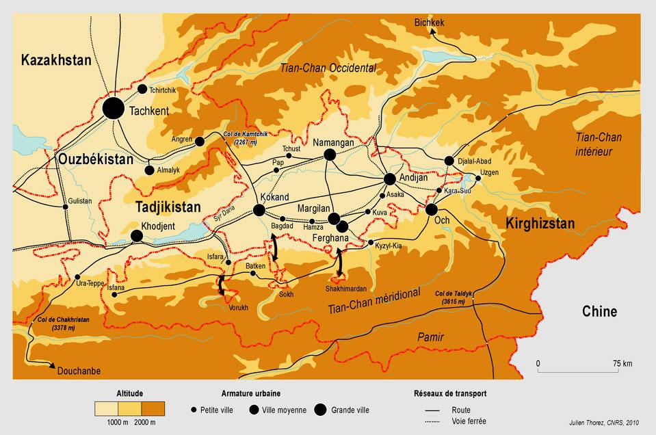 Carte Ferghana Tadjikistan Kirghizstan Conflit Routes