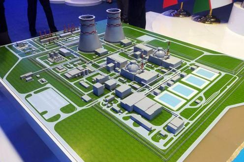 Maquette figurant l'implantation de centrales nucléaires en Ouzbékistan.