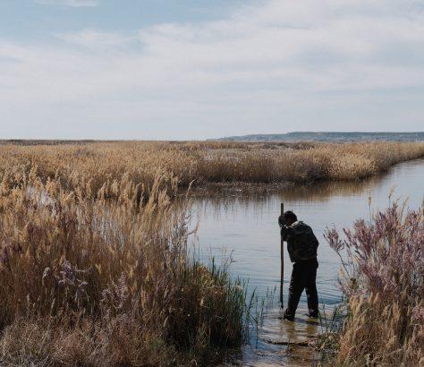 Pêcheur lac Sudochi Karakalpakistan Ouzbékistan Timour Karpov
