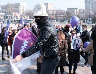 Kirghizstan Manifestation Journée internationale des droits de la femme Violence Agresseurs