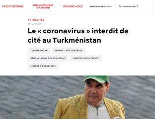 Reporters sans frontières RSF Turkménistan Coronavirus Fake News