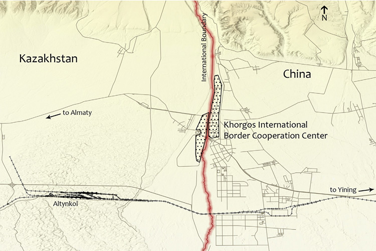 Carte Frontière Khorgos Kazakhstan Chine