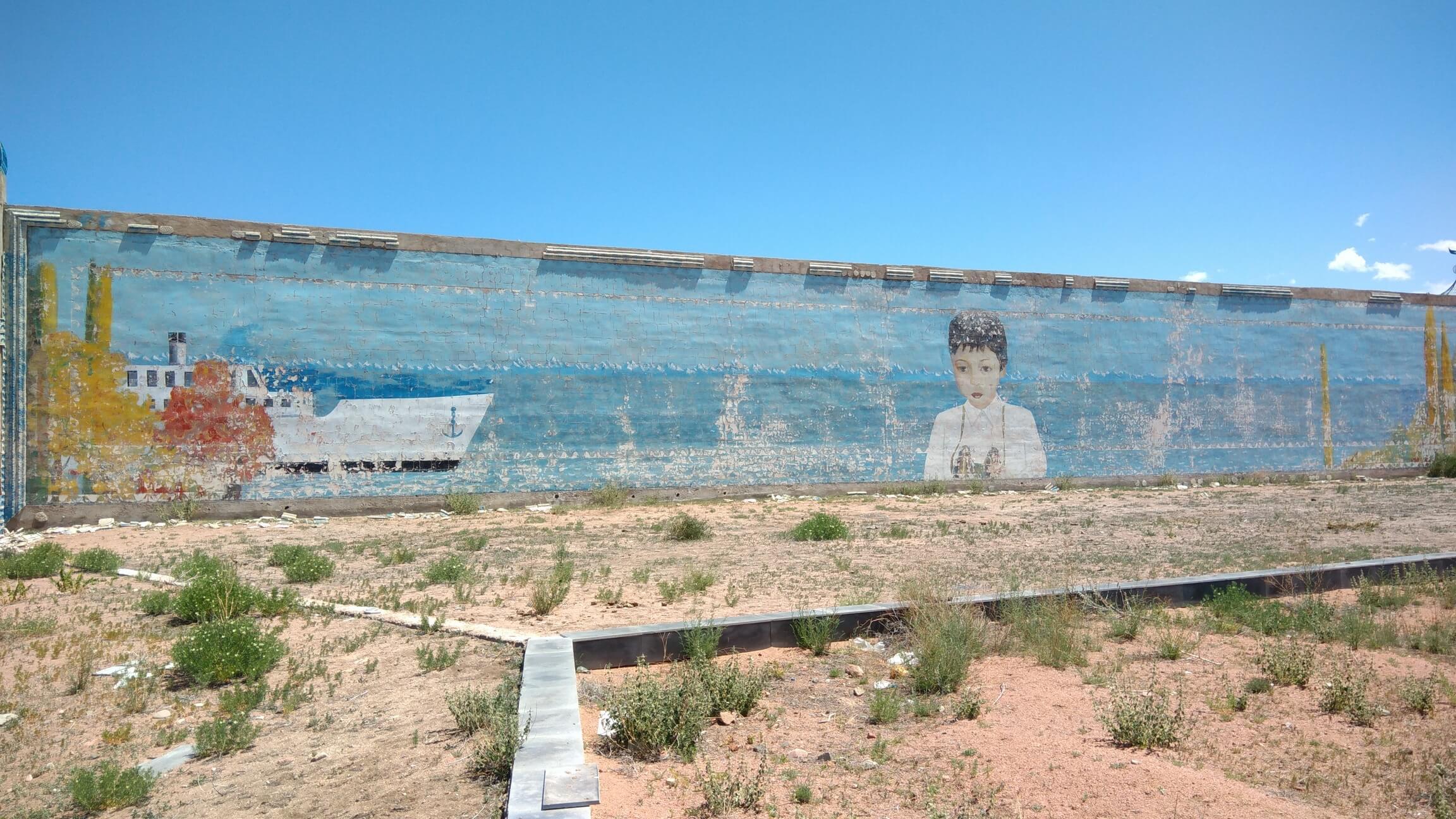 Fresque Garçon Roman Aïtmatov Issyk-Koul Kirghizstan