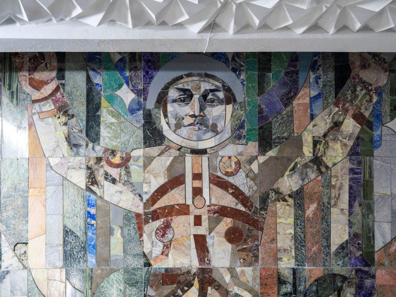 Cosmonaute Mosaïque Tachkent Ouzbékistan Tour de télévision