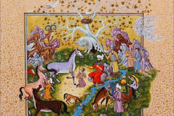 Tadjikistan miniature art chevaux peinture