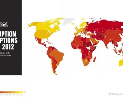 Corruption perception idex 2012, Crédit : Transparancy International