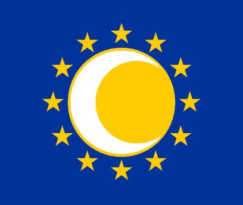 drapeau eurasie proposition croissant etoiles fond bleu