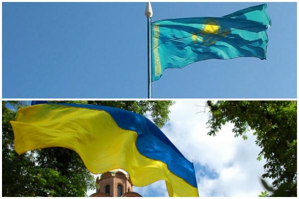 Drapeaux ukrainien et kazakh