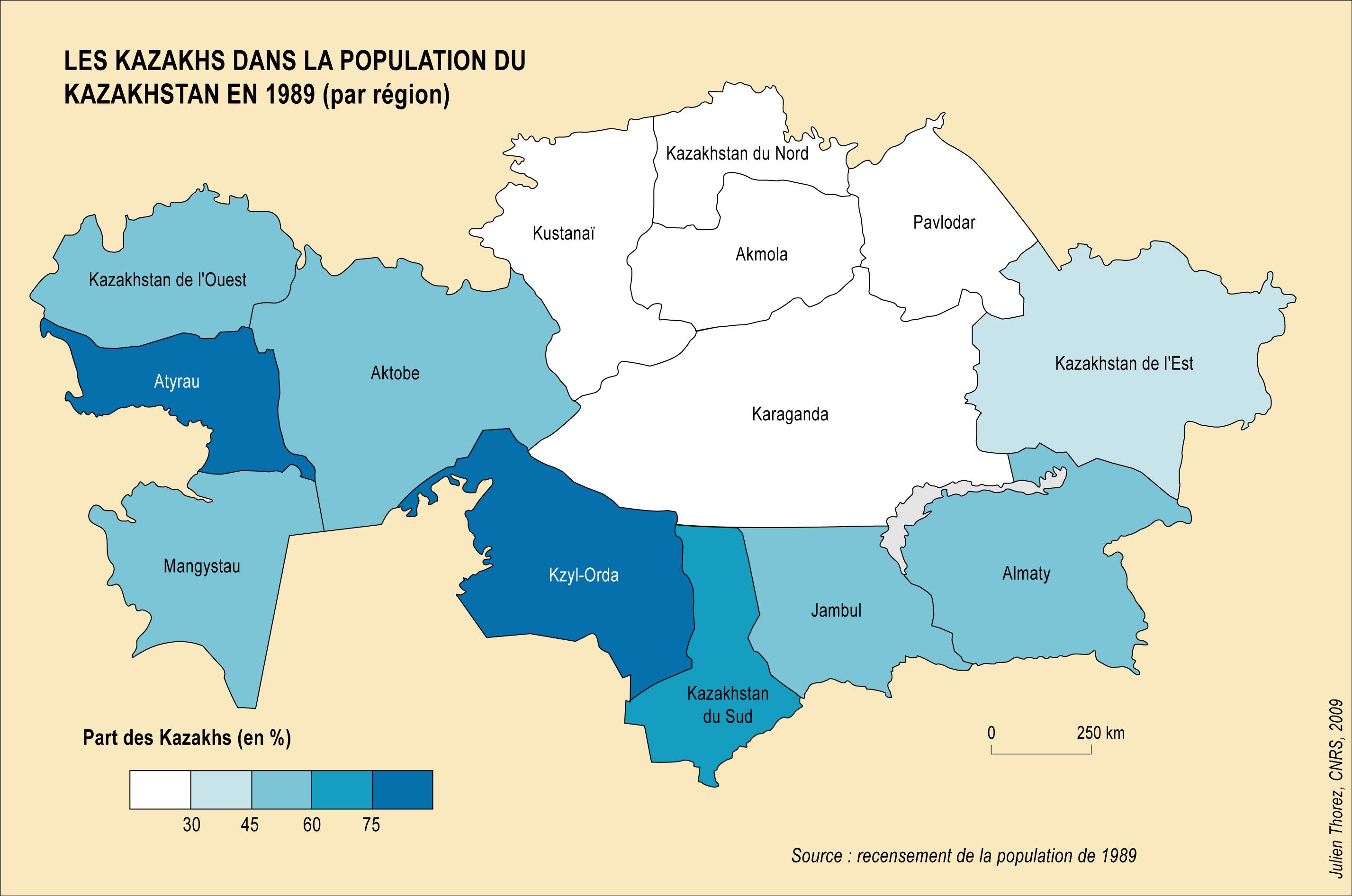 Les Kazakhs dans la population du Kazakhstan en 1989.