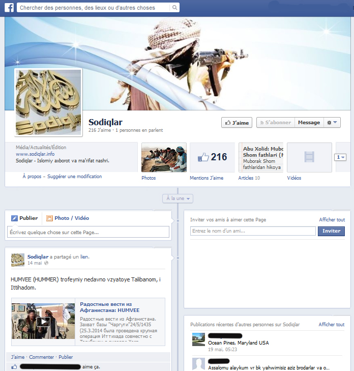 Page Sodiqlar sur Facebook