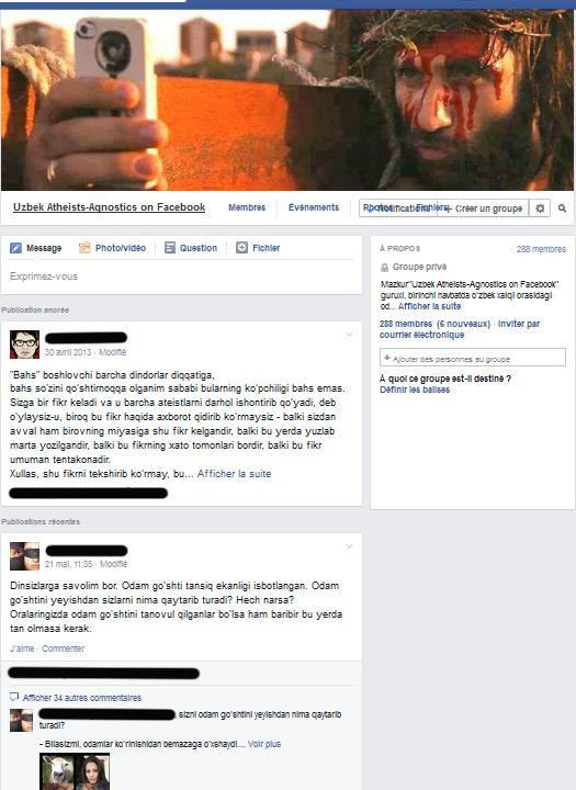 Groupe des athées ouzbeks sur Facebook